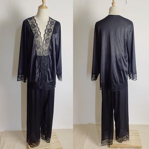 VINTAGE Lace Trim Pants Night Set Black 1x